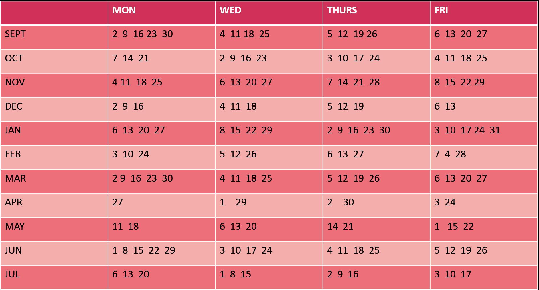 Term dates 19-20